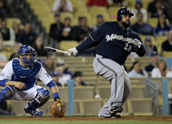 LOS ANGELES, CA - MAY 06:  Prince Fielder #28 of the Milwaukee Brewers hits a single in the ninth inning against the Los Angeles Dodgers at Dodger Stadium on May 6, 2010 in Los Angeles, California.  The Dodgers defeated the Brewers 7-3.  (Photo by Jeff Gr