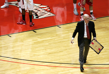SAN DIEGO, CA - FEBRUARY 8: Coach Steve Fisher of San Diego State walks back to his bench after a time-out against Utah at Cox Arena on February 8, 2011 in San Diego, California. SDSU beat Utah 85-53. (Photo by Kent Horner/Getty Images)