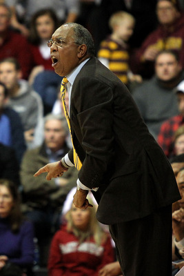 PHILADELPHIA, PA - DECEMBER 08:  Head aoch Tubby Smith of the Minnesota Golden Gophers coaches against the St. Joseph's Hawks at Michael J. Hagan Arena on December 8, 2010 in Philadelphia, Pennsylvania.  (Photo by Chris Chambers/Getty Images)