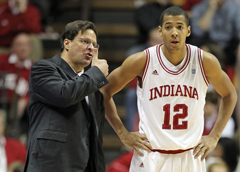 BLOOMINGTON, IN - DECEMBER 27:  Tom Crean the Head Coach of the Indiana Hoosiers gives instructions to Verdell Jones III #12 during the Big Ten Conference game against the Penn State Nittany Lions on December 27, 2010 at Assembly Hall in Bloomington, Indi