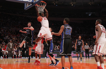 NEW YORK, NY - JANUARY 30: Justin Burrell #24 of the St. John's Red Storm dunks the ball against the Duke Blue Devils  at Madison Square Garden on January 30, 2011 in New York City.  (Photo by Nick Laham/Getty Images)