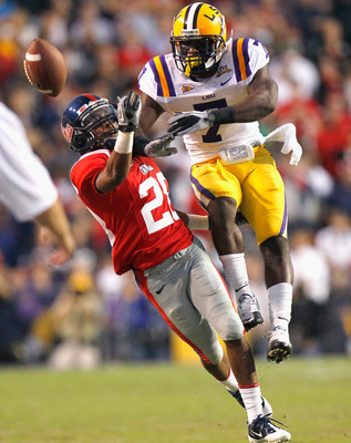 BATON ROUGE, LA - NOVEMBER 20:  Patrick Peterson #7 of the Louisiana State University Tigers breaks up a pass intended for Korvic Neat #28 of the Ole Miss Rebels at Tiger Stadium on November 20, 2010 in Baton Rouge, Louisiana.  (Photo by Kevin C. Cox/Gett