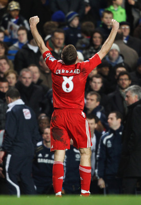 LONDON, ENGLAND - FEBRUARY 06: Steven Gerrard of Liverpool after the Barclays Premier League match between Chelsea and Liverpool at Stamford Bridge on February 6, 2011 in London, England. (Photo by Scott Heavey/Getty Images)