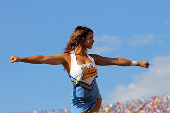 AUSTIN, TX - SEPTEMBER 25:  A UCLA Bruins cheerleader performs during a game against the Texas Longhorns at Darrell K Royal-Texas Memorial Stadium on September 25, 2010 in Austin, Texas.  (Photo by Ronald Martinez/Getty Images)