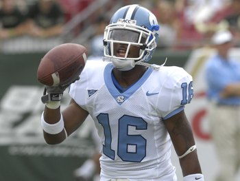 TAMPA, FL - SEPTEMBER 22: Cornerback Kendric Burney #16 of the North Carolina Tar Heels warms up before play against the University of South Florida Bulls at Raymond James Stadium on September 22, 2007 in Tampa, Florida.  USF  won 37-10.  (Photo by Al Mes