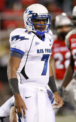 LAS VEGAS - NOVEMBER 18:  Quarterback Tim Jefferson Jr. #7 of the Air Force Falcons gets instructions from his sideline during a game against the UNLV Rebels at Sam Boyd Stadium November 18, 2010 in Las Vegas, Nevada. Air Force won 35-20.  (Photo by Ethan