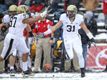 CINCINNATI, OH - DECEMBER 04:  Dom Decicco #31 of the Pittsburgh Panthers celebrates with Jabaal Sheard #97 after intercepting a pass during the Big East Conference game against the Cincinnati Bearcats at Nippert Stadium on December 4, 2010 in Cincinnati,