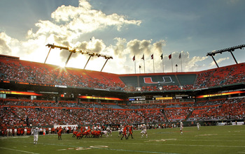 MIAMI - NOVEMBER 20: A general view of the Miami Hurricanes during a game against the Virginia Tech Hokies at Sun Life Stadium on November 20, 2010 in Miami, Florida.  (Photo by Mike Ehrmann/Getty Images)
