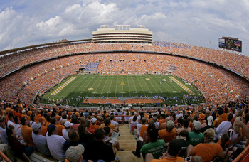 KNOXVILLE, TN - SEPTEMBER 12: A general view during a game between the UCLA Bruins and the Tennessee Volunteers on September 12, 2009 at Neyland Stadium in Knoxville, Tennessee. The Bruins beat the Volunteers 19-15. (Photo by Joe Murphy/Getty Images)