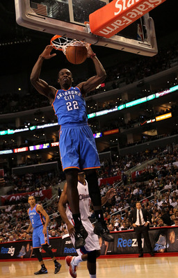 LOS ANGELES - NOVEMBER 3:  Jeff Green #22 of the Oklahoma City Thunder dunks against the Los Angeles Clippers at Staples Center on November 3, 2010 in Los Angeles, California.  NOTE TO USER: User expressly acknowledges and agrees that, by downloading and