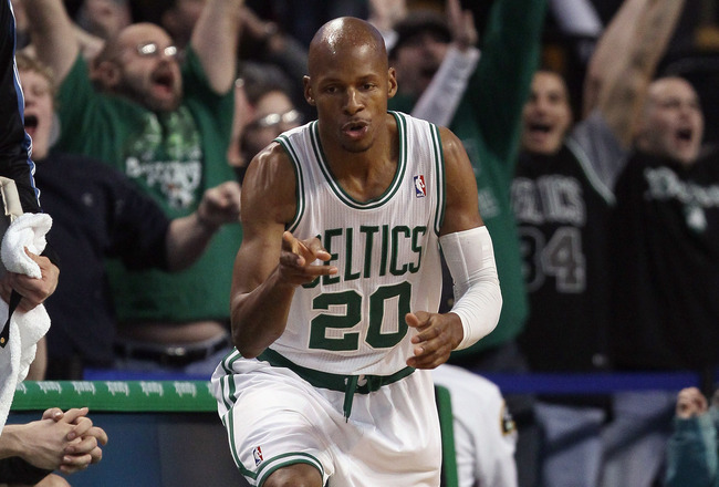 BOSTON, MA - JANUARY 03:  Ray Allen #20 of the Boston Celtics celebrates his three point shot late in the fourth quarter against the Minnesota Timberwolves on January 3, 2011 at the TD Garden in Boston, Massachusetts. The Celtics defeated the Timberwolves