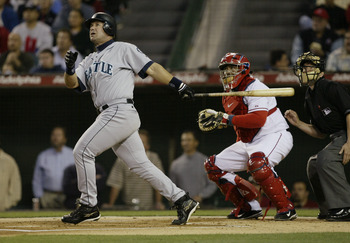 ANAHEIM, CA - APRIL 13:  Designated hitter Edgar Martinez #11 of the Seattle Mariners at bat during the game against the Anaheim Angels on April 13, 2004 at Angel Stadium in Anaheim, California.  The Angels, playing in their first home game of the season,
