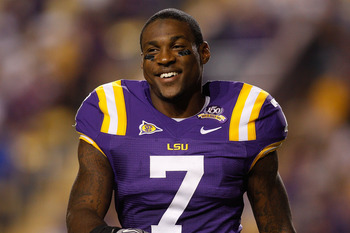 BATON ROUGE, LA - OCTOBER 16:  Patrick Peterson #7 of the Louisiana State University Tigers smiles as he walks off the field during the game against the McNeese State Cowboys at Tiger Stadium on October 16, 2010 in Baton Rouge, Louisiana.  (Photo by Chris