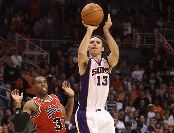 PHOENIX - NOVEMBER 24:  Steve Nash #13 of the Phoenix Suns puts up a shot during the NBA game against the Chicago Bulls at US Airways Center on November 24, 2010 in Phoenix, Arizona. The Bulls defeated the Suns 123-115 in double overtime. NOTE TO USER: Us