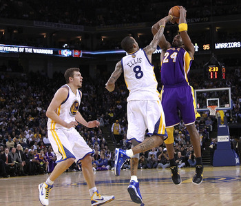OAKLAND, CA - JANUARY 12: Kobe Bryant #24 of the Los Angeles Lakers in action during their game against the Golden State Warriors at Oracle Arena on January 12, 2011 in Oakland, California. NOTE TO USER: User expressly acknowledges and agrees that, by dow