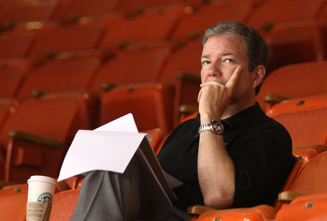 PITTSBURGH - MAY 20: General Manager Ray Shero of the Pittsburgh Penguins watches his team's practice session at Mellon Arena on May 20, 2009 in Pittsburgh, Pennsylvania. (Photo by Bruce Bennett/Getty Images)