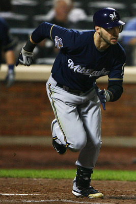 NEW YORK - SEPTEMBER 30: Ryan Braun #8 of the Milwaukee Brewers runs after hitting a one run single in the ninth inning against the New York Mets on September 30, 2010 at Citi Field in the Flushing neighborhood of the Queens borough of New York City. The