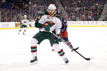 COLUMBUS,OH - NOVEMBER 06:  Martin Havlat #24 of the Minnesota Wild skates with the puck against the Columbus Blue Jackets on November 6, 2010 at Nationwide Arena in Columbus, Ohio.  (Photo by John Grieshop/Getty Images)
