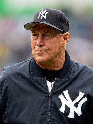 BRONX, NY - MAY 7:  New York Yankees pitching coach Mel Stottlemyre walks from the bullpen to the dugout before the Yankees game against the Oakland Athletics on May 7, 2005 at Yankee Stadium in Bronx, New York.  (Photo by Ezra Shaw/Getty Images)