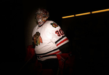 DALLAS, TX - FEBRUARY 11:  Goaltender Marty Turco #30 of the Chicago Blackhawks walks to the ice before a game against the Dallas Stars at American Airlines Center on February 11, 2011 in Dallas, Texas.  (Photo by Ronald Martinez/Getty Images)