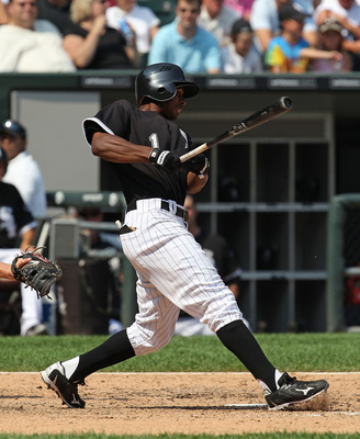 CHICAGO - AUGUST 01: Juan Pierre #1 of the Chicago White Sox hits the ball against the Oakland Athletics at U.S. Cellular Field on August 1, 2010 in Chicago, Illinois. The White Sox defeated the Athletics 4-1. (Photo by Jonathan Daniel/Getty Images)