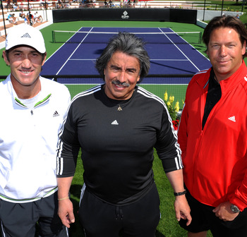 LA QUINTA, CA - MARCH 12:  (Left to right) Darren Cahill, Gil Reyes and Sven Groeneveld at the La Quinta Resort on March 12, 2009 in La Quinta, California.  (Photo by Robert Laberge/Getty Images)