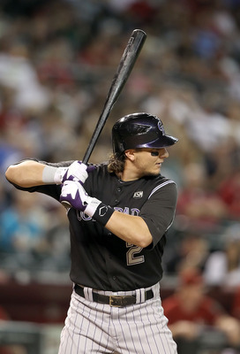PHOENIX - SEPTEMBER 22:  Troy Tulowitzki #2 of the Colorado Rockies at bat during the Major League Baseball game against the Arizona Diamondbacks at Chase Field on September 22, 2010 in Phoenix, Arizona.  (Photo by Christian Petersen/Getty Images)