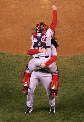 DENVER - OCTOBER 28:  Relief pitcher Jonathan Papelbon #58 of the Boston Red Sox celebrates with Jason Varitek #33 after defeating the Colorado Rockies in Game Four of the 2007 World Series at Coors Field on October 28, 2007 in Denver, Colorado  The Red S