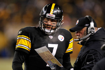 PITTSBURGH, PA - JANUARY 23:  Ben Roethlisberger #7 of the Pittsburgh Steelers talks to offensive coordinator Bruce Arians during their 2011 AFC Championship game against the New York Jets at Heinz Field on January 23, 2011 in Pittsburgh, Pennsylvania.  (