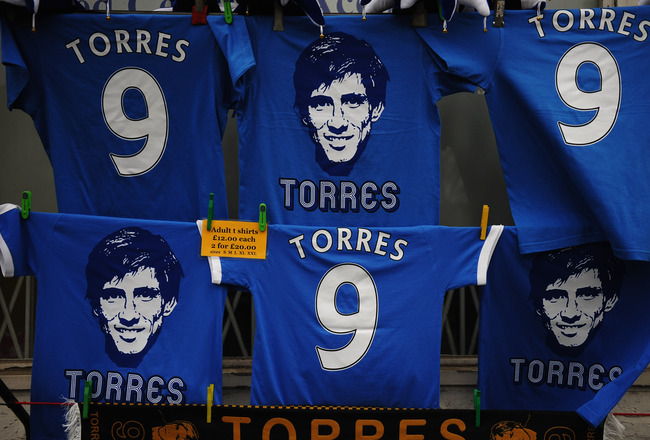 LONDON, ENGLAND - FEBRUARY 06:  Fernando Torres merchandise on sale prior to the Barclays Premier League match between Chelsea and Liverpool at Stamford Bridge on February 6, 2011 in London, England. Fernando Torres is Chelsea's new £50 million pound sign
