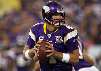 MINNEAPOLIS - SEPTEMBER 26:  Quarterback Brett Favre #4 of the Minnesota Vikings drops back to pass against the Detroit Lions during the game at Hubert H. Humphrey Metrodome on September 26, 2010 in Minneapolis, Minnesota.  (Photo by Jeff Gross/Getty Imag