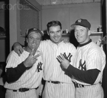 (left to right) Hank Bauer, Tom Sturdivant, and Mickey Mantle