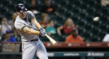 HOUSTON - SEPTEMBER 15:  Corey Hart #1 of the Milwaukee Brewers doubles to right center field in the first inning against the Houston Astros at Minute Maid Park on September 15, 2010 in Houston, Texas.  (Photo by Bob Levey/Getty Images)
