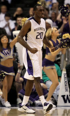 LOS ANGELES, CA - MARCH 11:  Quincy Pondexter #20 of the Washington Huskies reacts after being fouled in the second half against the Oregon State Beavers during the Quarterfinals of the Pac-10 Basketball Tournament at Staples Center on March 11, 2010 in L