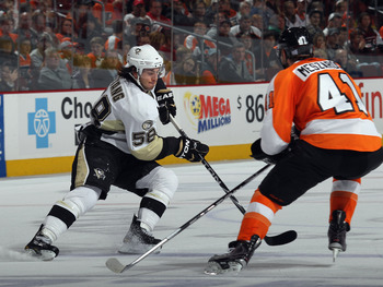 PHILADELPHIA - OCTOBER 16:  Kris Letang #58 of the Pittsburgh Penguins skates against the Philadelphia Flyers at the Wells Fargo Center on October 16, 2010 in Philadelphia, Pennsylvania.  (Photo by Bruce Bennett/Getty Images)
