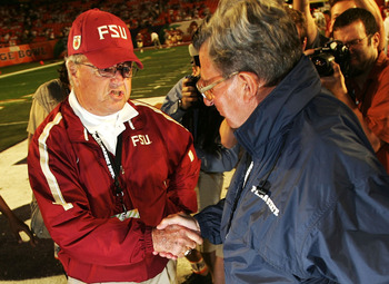 MIAMI - JANUARY 3:  Head Coach Joe Paterno (R) of the Penn State Nittany Lions and Head Coach Bobby Bowden of the Florida State Seminoles shake hands before the FedEx Orange Bowl on January 3, 2006 at Dolphins Stadium in Miami, Florida.  (Photo by Al Bell