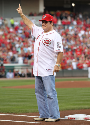 CINCINNATI - SEPTEMBER 11:  Pete Rose takes in the ceremony celebrating the 25th anniversary of his breaking the career hit record of 4,192 . He was honored before the start of the game between the Pittsburg Pirates and the Cincinnati Reds at Great Americ