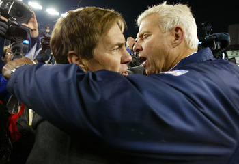FOXBORO, MA - NOVEMBER 16:  Head Coach Bill Belichick of the New England Patriots (L) hugs Head Coach Bill Parcells of the Dallas Cowboys after the Patriots 12-0 win on November 16, 2003 at Gillette Stadium in Foxboro, Massachusetts.  (Photo by Al Bello/G