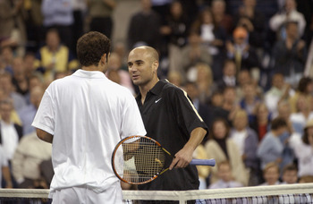 FLUSHING-SEPTEMBER 5:  Pete Sampras (USA) is congratulated by Andre Agassi (USA) after their match at the US Open at the USTA National Tennis Center, on September 5, 2001 in Flushing Meadows Corona Park in Flushing, New York. Sampras won the match .(Photo