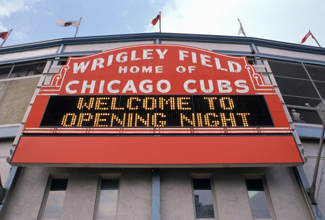 CHICAGO - APRIL 4:  Exterior view of Wrigley Field's marquee welcoming fans for the home opening game between the Chicago Cubs and the Philadelphia Phillies at Wrigley Field on April 4, 1989 in Chicago, Illinois.  The Cubs won 5-4.  (Photo by Jonathan Dan