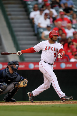 ANAHEIM, CA - SEPTEMBER 08:  Bobby Abreu #53 of the Los Angeles Angels of Anaheim bats against the Cleveland Indians on September 8, 2010 at Angel Stadium in Anaheim, California.   The Angels won 4-3 in 16 innings.  (Photo by Stephen Dunn/Getty Images)