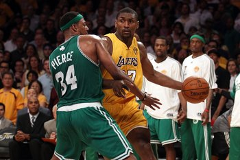 LOS ANGELES, CA - JUNE 17:  Ron Artest #37 of the Los Angeles Lakers drives on Paul Pierce #34 of the Boston Celtics in Game Seven of the 2010 NBA Finals at Staples Center on June 17, 2010 in Los Angeles, California.  NOTE TO USER: User expressly acknowle