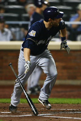 NEW YORK - SEPTEMBER 30:  Jonathan Lucroy #20 of the Milwaukee Brewers runs after hitting a one run single against the New York Mets in the second inning on September 30, 2010 at Citi Field in the Flushing neighborhood of the Queens borough of New York Ci