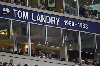 IRVING, TX - DECEMBER 20:  The name of former coach, Tom Landry on the ring of honor during the last home game against the Baltimore Ravens on December 20, 2008 in Irving, Texas. The Cowboys are playing their final regular season home game before moving t