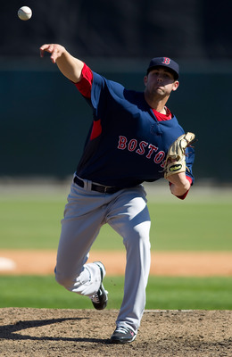 SARASOTA, FL - MARCH 07:  Pitcher Casey Kelly #93 of the Boston Red Sox pitches against the Baltimore Orioles during a Grapefruit League Spring Training Game at Ed Smith Stadium on March 7, 2010 in Sarasota, Florida.  (Photo by J. Meric/Getty Images)