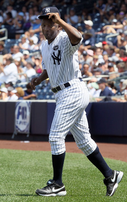 NEW YORK - JULY 17: Mickey Rivers is introduced during the New York Yankees 64th Old-Timer's Day before the MLB game against the Tampa Bay Rays on July 17, 2010 at Yankee Stadium in the Bronx borough of New York City.  (Photo by Jim McIsaac/Getty Images)