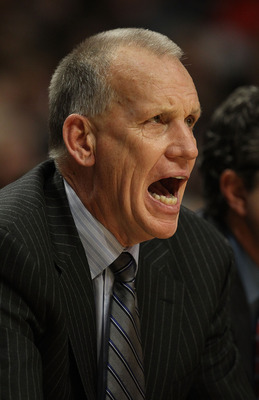CHICAGO, IL - DECEMBER 21: Head coach Doug Collins of the Philadelphia 76ers gives instructions to his team against the Chicago Bulls at the United Center on December 21, 2010 in Chicago, Illinois. The Bulls defeated the 76ers 121-76. NOTE TO USER: User e