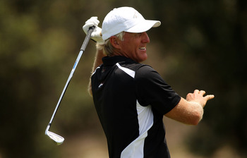 SYDNEY, AUSTRALIA - DECEMBER 05:  Greg Norman  of Australia plays a shot on the 12th hole during day four of the Australian Open at The Lakes Golf Club on December 5, 2010 in Sydney, Australia.  (Photo by Mark Metcalfe/Getty Images)