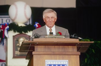 COOPERSTOWN, NY - AUGUST 3:  Phil Neikro is honored during the Hall of Fame Induction Ceremony on August 3, 1997 at the Clark Sports Center in Cooperstown, New York.  (Photo by Tomasso DeRosa/Getty Images)