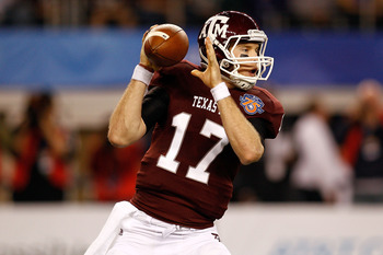 ARLINGTON, TX - JANUARY 07:  Quarterback Ryan Tannehill #17 of the Texas A&M Aggies looks to throw a pass against the Louisiana State University Tigers during the AT&T Cotton Bowl at Cowboys Stadium on January 7, 2011 in Arlington, Texas.  (Photo by Chris